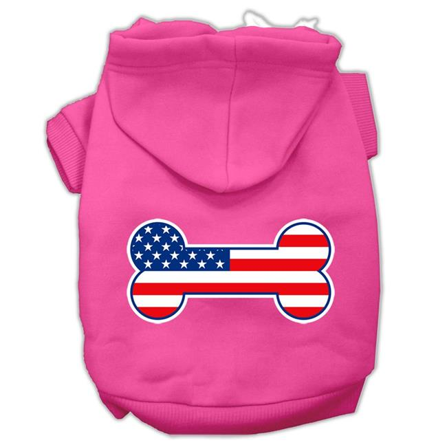 Bone Shaped American Flag Screen Print Pet Hoodies Bright Pink Size Xs (8) - image 1 de 1