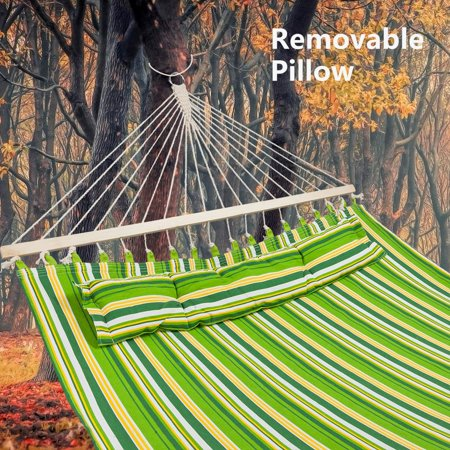 Ktaxon Double Fabric Hammock With Pillow Spreader Bar Polyester UV Resistant