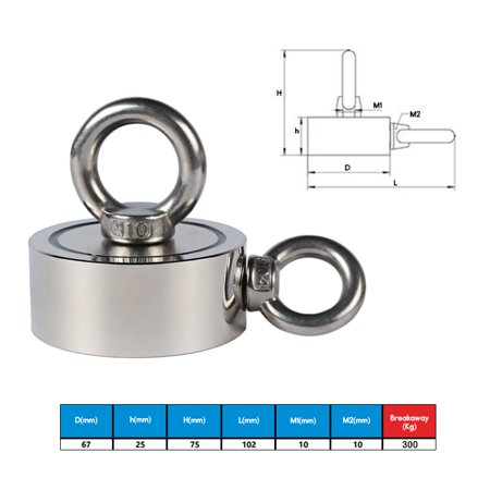 300KG 67mm Double Sides Strong Neodymium Magnet with Hanging Eyebolt Ring Strong Pulling Force Magnet for Treasure Hunting Salvage Fishing Strong Recovery Magnet Metal Detector  - image 7 of 10