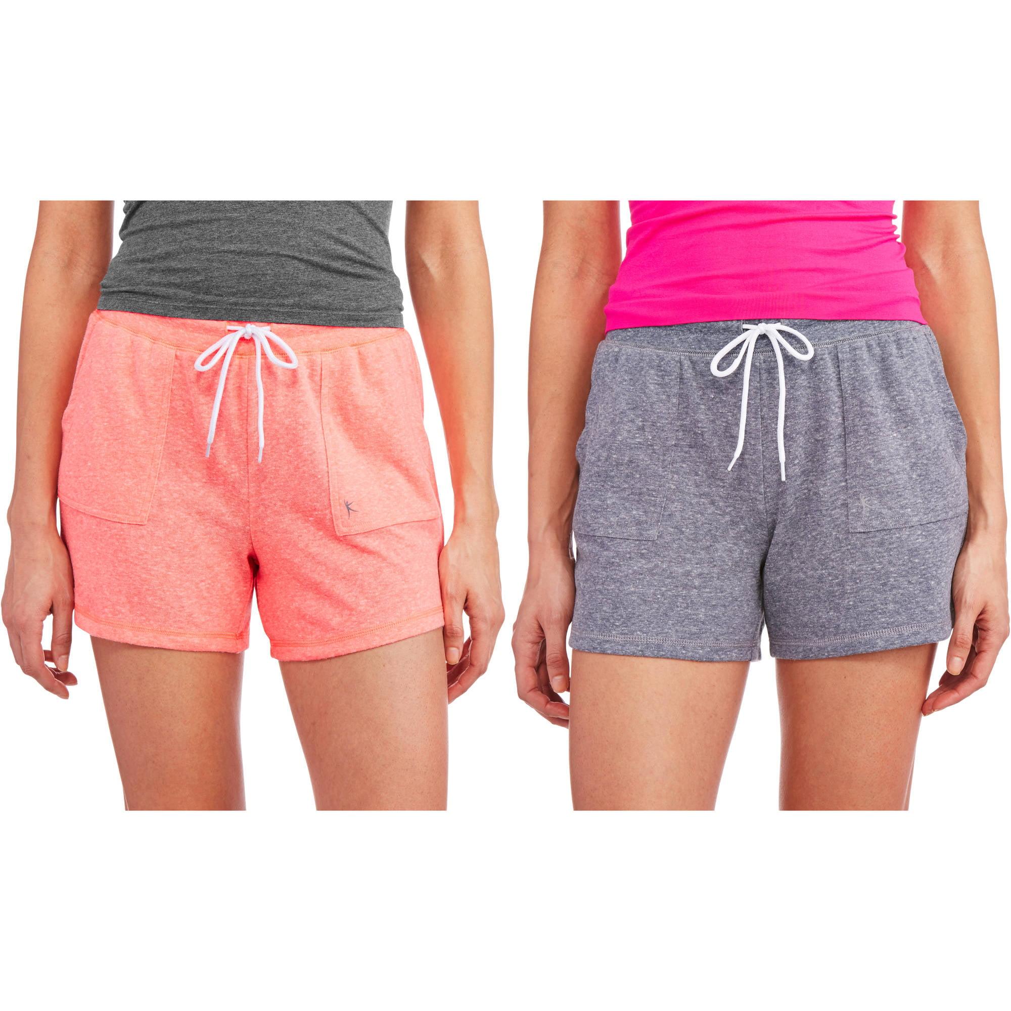 Danskin Now Women's Basic Knit Gym Short, 2 Pack Value Bundle