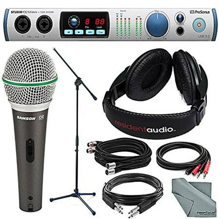 PreSonus Studio 192 Mobile 22x26 USB 3.0 Audio Interface and Studio Command Center + Deluxe Bundle w/ Samson Q6 Dynamic Mic + Mic Stand + 2X XLR & TRS Cable + Headphones + More Deluxe Open Back Studio