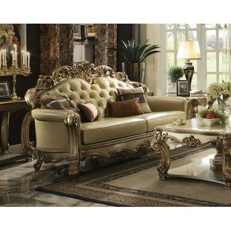 Acme Furniture 53000 Vendome Bone Gold Patina Living Room Sofa Traditional
