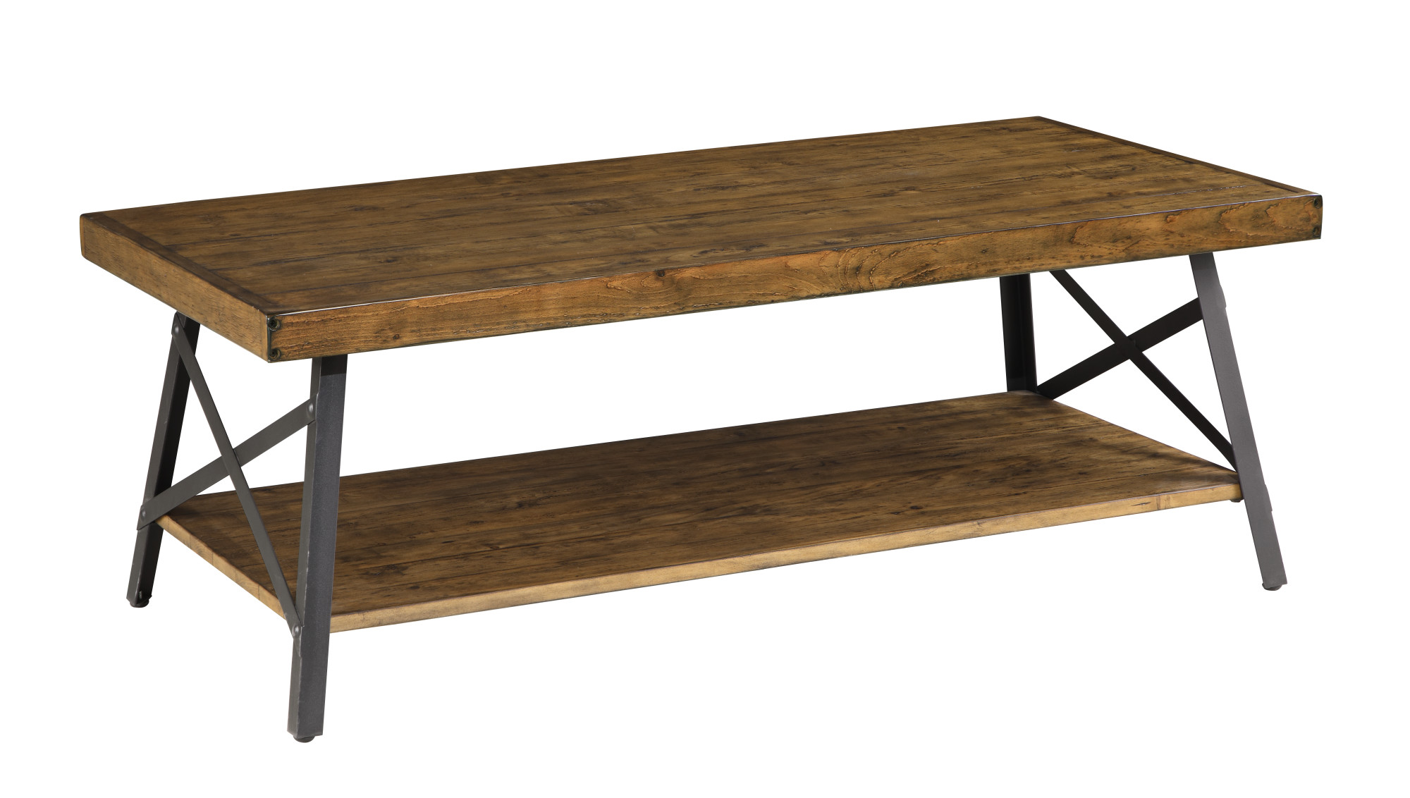 """Emerald Home Chandler Pine Brown 48"""" Coffee Table with Solid Wood Top, Metal Base, And Open... by Emerald Home Furnishings, LLC"""