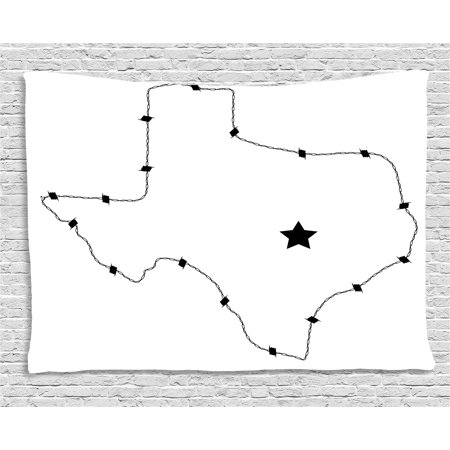 Control Map - Texas Star Tapestry, USA State Map with Barbed Wire Pattern Monochrome Border Control Image, Wall Hanging for Bedroom Living Room Dorm Decor, 60W X 40L Inches, Black and White, by Ambesonne