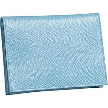 (Budd Leather 552241L-11 Lizard Print Large Leather Passport Case - Blue)