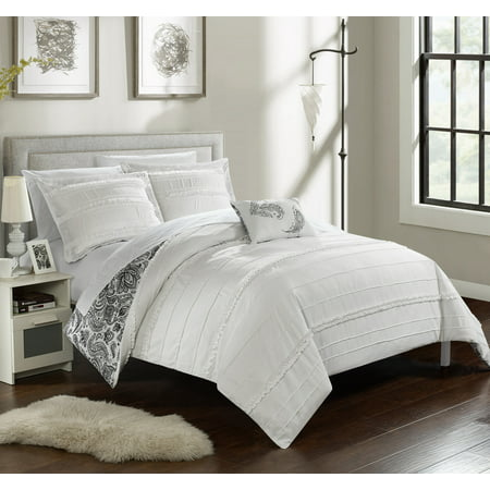 Chic Home 3-Piece Atticus Pleated and Ruffled REVERSIBLE Paisley Floral Print Twin Duvet Cover Set White Shams and Decorative Pillows