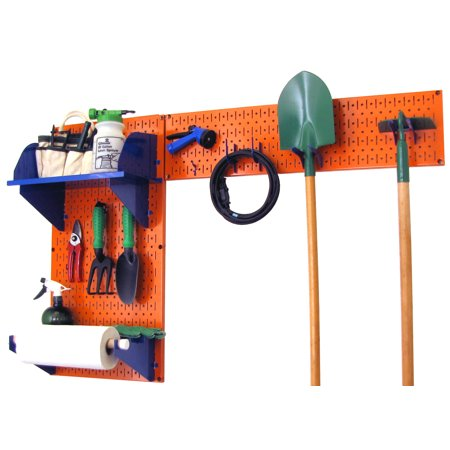 Wall Control Pegboard Garden Tool Board Organizer with Orange Pegboard and Blue Accessories