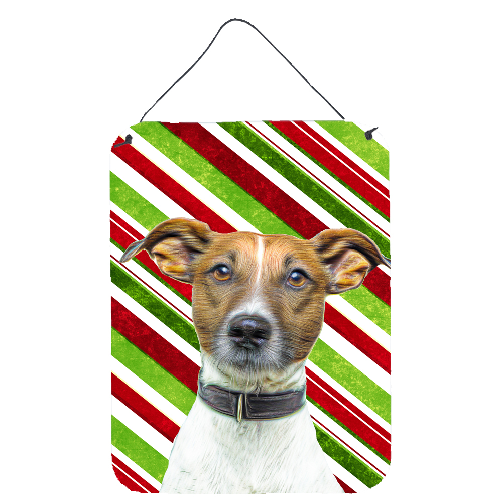 Candy Cane Holiday Christmas Jack Russell Terrier Wall or Door Hanging Prints