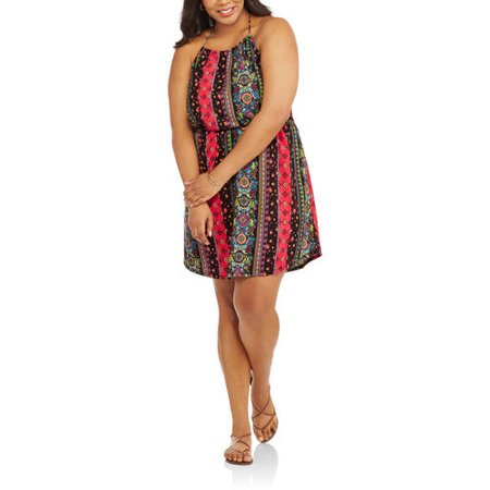No Boundaries Juniors' Plus High Neck Printed Halter Dress