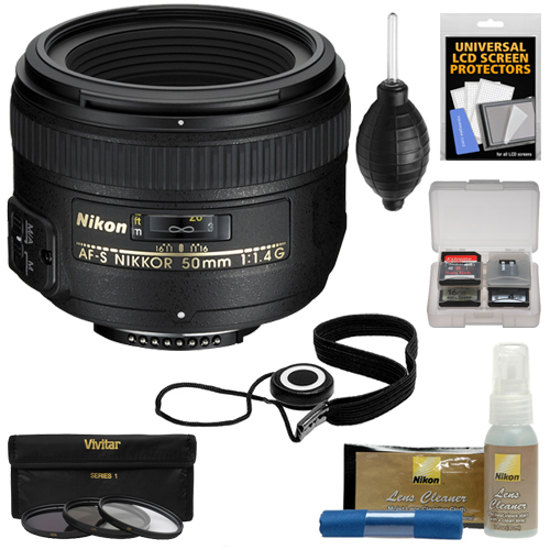 Nikon 50mm f/1.4G AF-S Nikkor Lens with 3 UV/CPL/ND8 Filters + Kit for D3200, D3300, D5300, D5500, D7100, D7200, D750, D810 Cameras