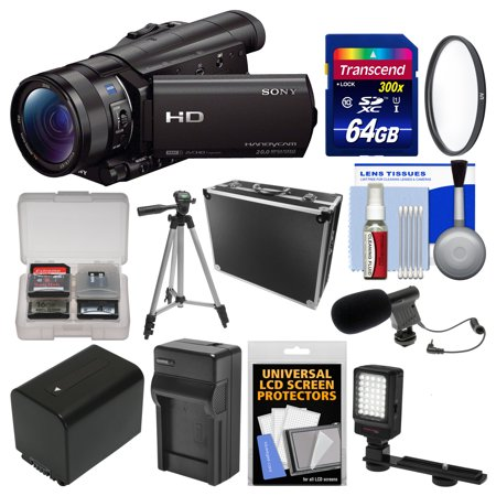Sony Handycam HDR-CX900 Wi-Fi HD Video Camera Camcorder with 64GB Card + Case + LED Light + Battery/Charger + Tripod + Filter + Kit