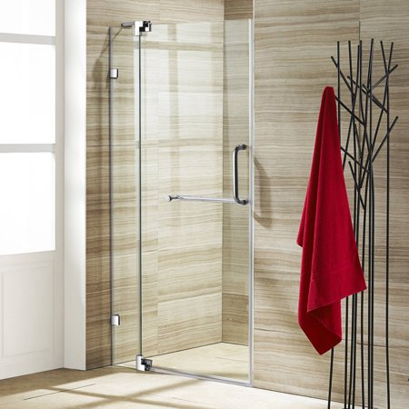 Vigo 36  Frameless Shower Door  3 8  Clear Glass Chrome Hardware