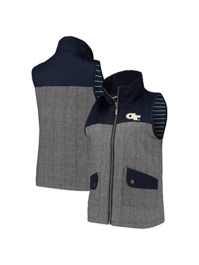 Georgia Tech Yellow Jackets Women's Prep For It Herringbone Knit Full-Zip Vest - Navy
