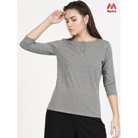fbec37c1 Ether by Myntra Women Grey Melange Solid Henley Neck T-shirt - image 1 of  ...