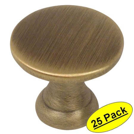 Cosmas 4545BAB Brushed Antique Brass Cabinet Hardware Round Knob - 7/8