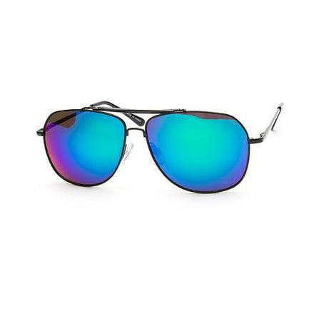 Retro 80s Fashion LARGE Aviator Sunglasses Metal Black Gold Men Vintage Glasses