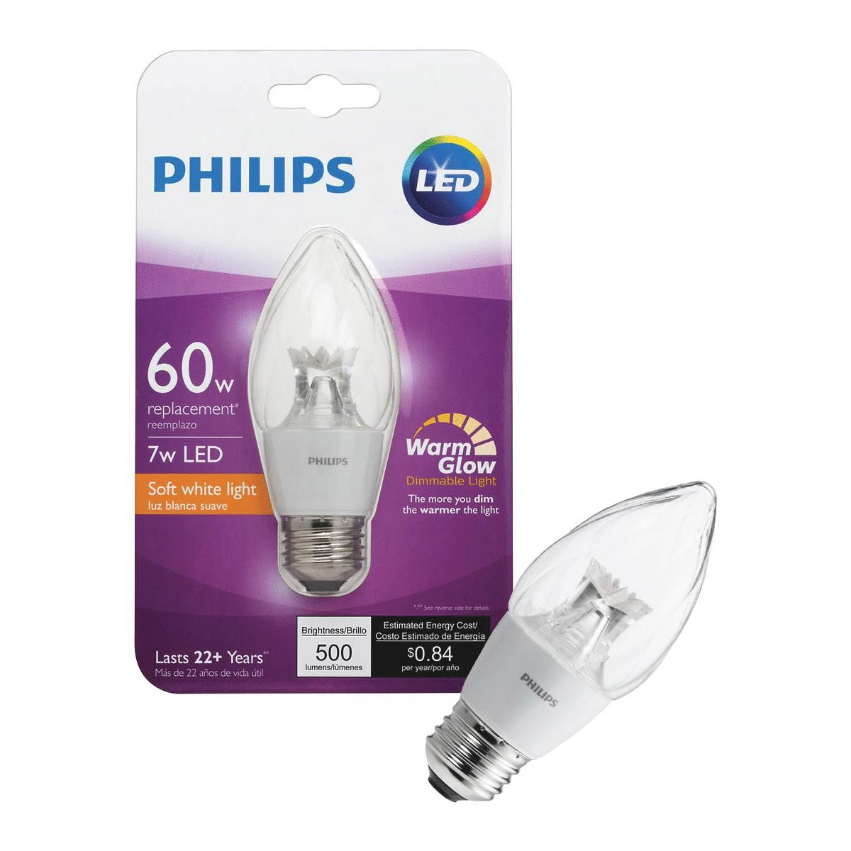 Philips LED Dimmable Candelabra Light Bulb, F15, Soft White with Warm Glow, 60 WE, Medium Base