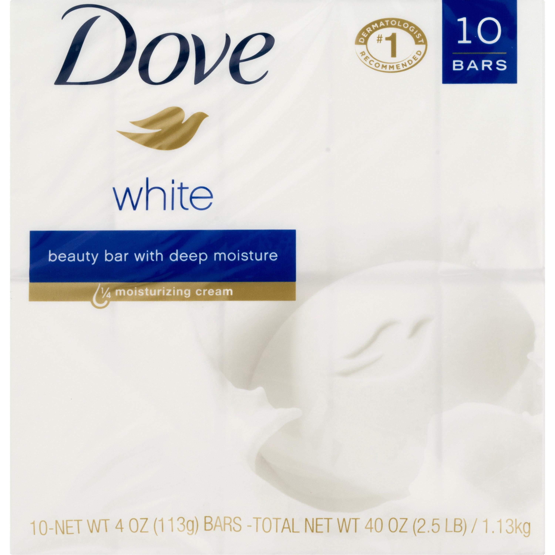 Dove Beauty Bar White 4 oz, 10 Bar, more moisturizing than bar soap