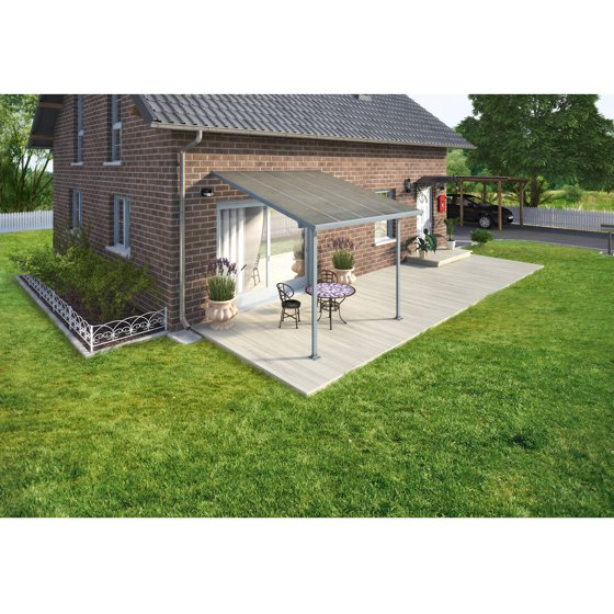 Palram Feria 30 Ft W X 10 Ft D Polycarbonate Patio Cover Gray