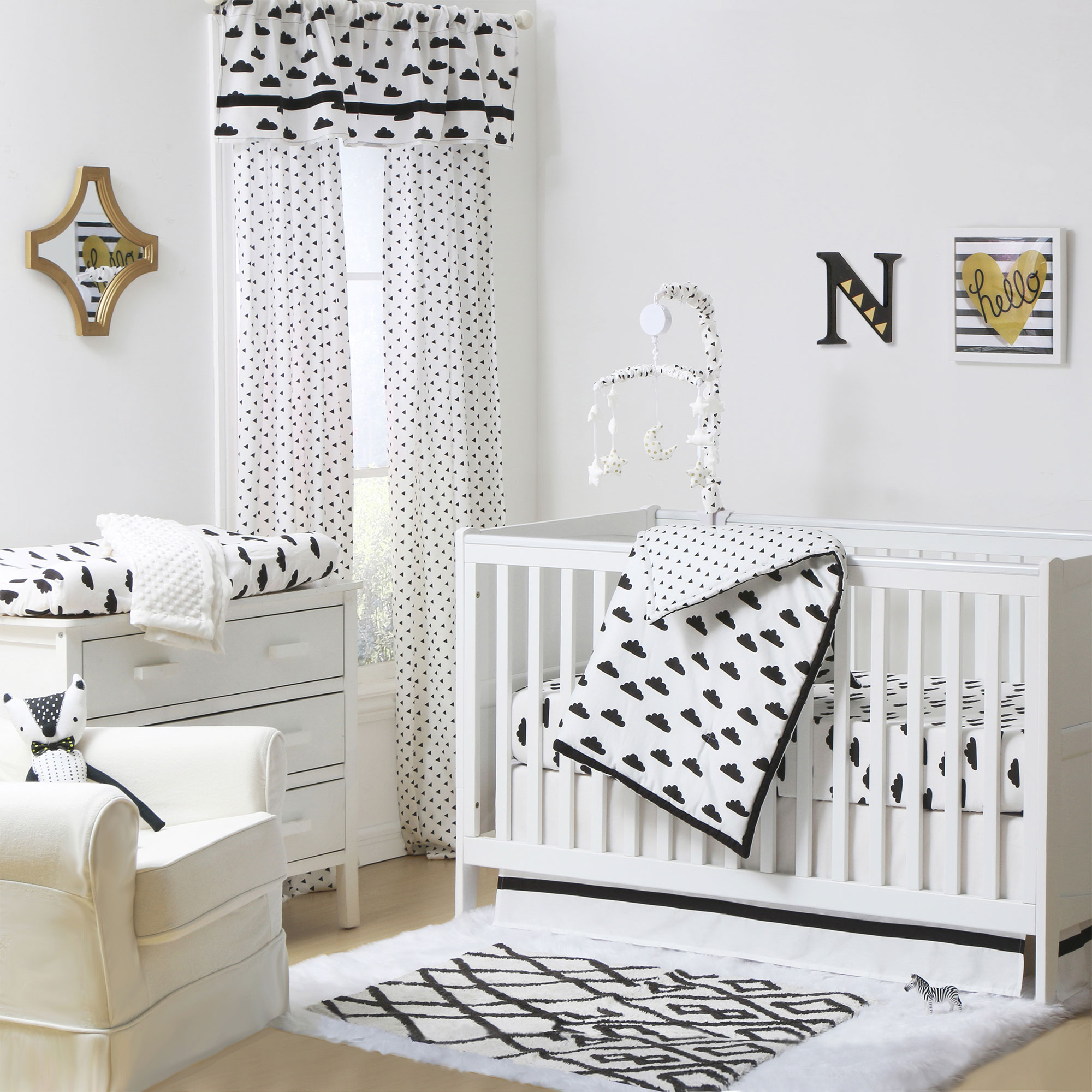 The Peanut Shell 3 Piece Baby Crib Bedding Set - Black and White Cloud Print - 100% Cotton Quilt, Crib Skirt and Sheet