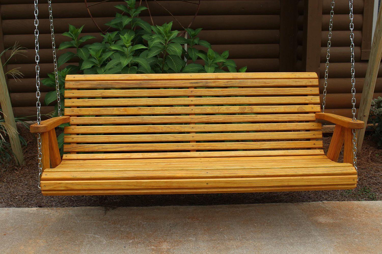 Outdoor Garden Lawn Backyard Patio 5 Ft Cedar Finish Roll Back Style Amish  Heavy Duty 700 Lb Treated Pine Porch Swing