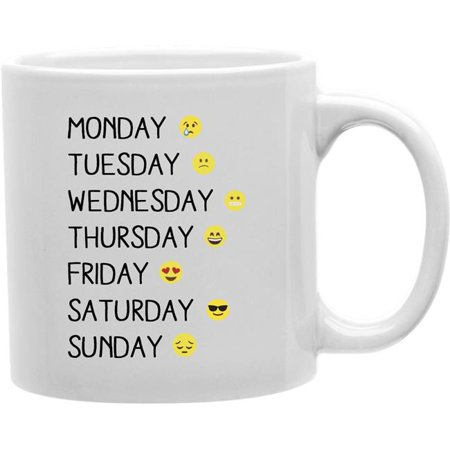 Imaginarium Goods CMG11-IGC-WEEKEMOJI Weekemoji - Monday, Tuesday, Wednesday, Thursday, Friday, Saturday, Sunday Mug