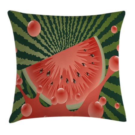Summer Throw Pillow Cushion Cover, Beach Fruit Vegetarian Garden Health Life Hot Season Image, Decorative Square Accent Pillow Case, 18 X 18 Inches, Olive Green Dark Coral Hunter Green, by Ambesonne ()