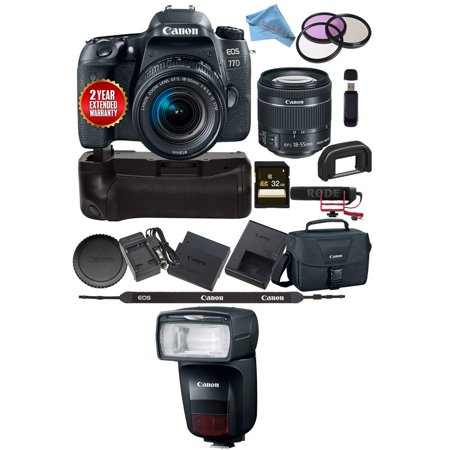 Canon EOS 77D DSLR Camera 18-55mm Lens + Canon Speedlite 470EX-AI 1957C002 USA