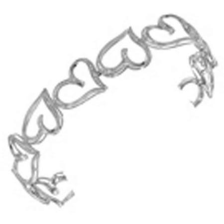 10k White Gold Womens Round Diamond Heart Bangle Bracelet 1/8 Cttw