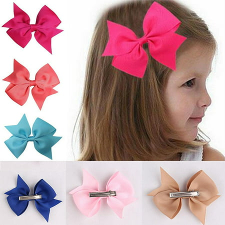 10pcs Girls Ribbon Bow Hair Clip Kids Alligator Clips Party Hair Accessories HFON