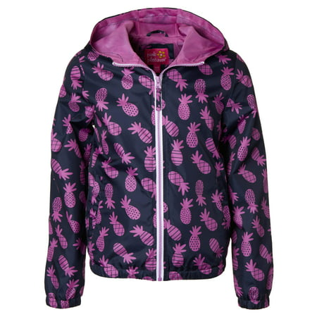 Pineapple Print Windbreaker Jacket with Mesh Lining (Little Girls & Big - Navy Windbreaker