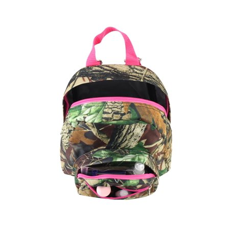 Zodaca Stylish Kids Small Travel Backpack Girls Boys Bookbag Shoulder Children's School Bag for Outside Activity - Natural Camoflague with Pink Trim - image 2 of 4