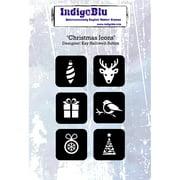 "IndigoBlu Cling Mounted Stamp 5""X4""-Christmas Icons"