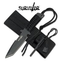 FIXED-BLADE SURVIVAL KNIFE | Survivor Black Full Tang Paracord Tanto Blade Flint