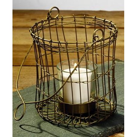 Antique Primitive Vintage Brass Gold Color Wire Votive Candle Holder With Handle - Primitive Vintage Tealight Tea -