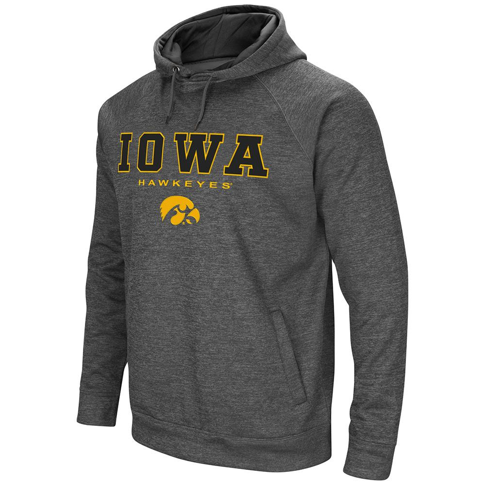 Mens NCAA Iowa Hawkeyes Heather Charcoal Pull-over Hoodie by Colosseum