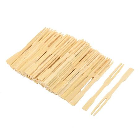 Bamboo Cocktail Forks Fruit Picks Skewers Sticks Beige 3 5