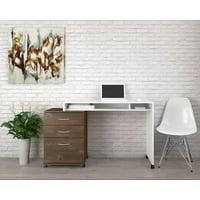 Essentials 2 Piece Home Office Set, White & Truffle
