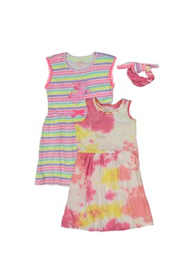 Limited Too Girls Printed Dresses with Scrunchie, 2-Pack, Sizes 4-12
