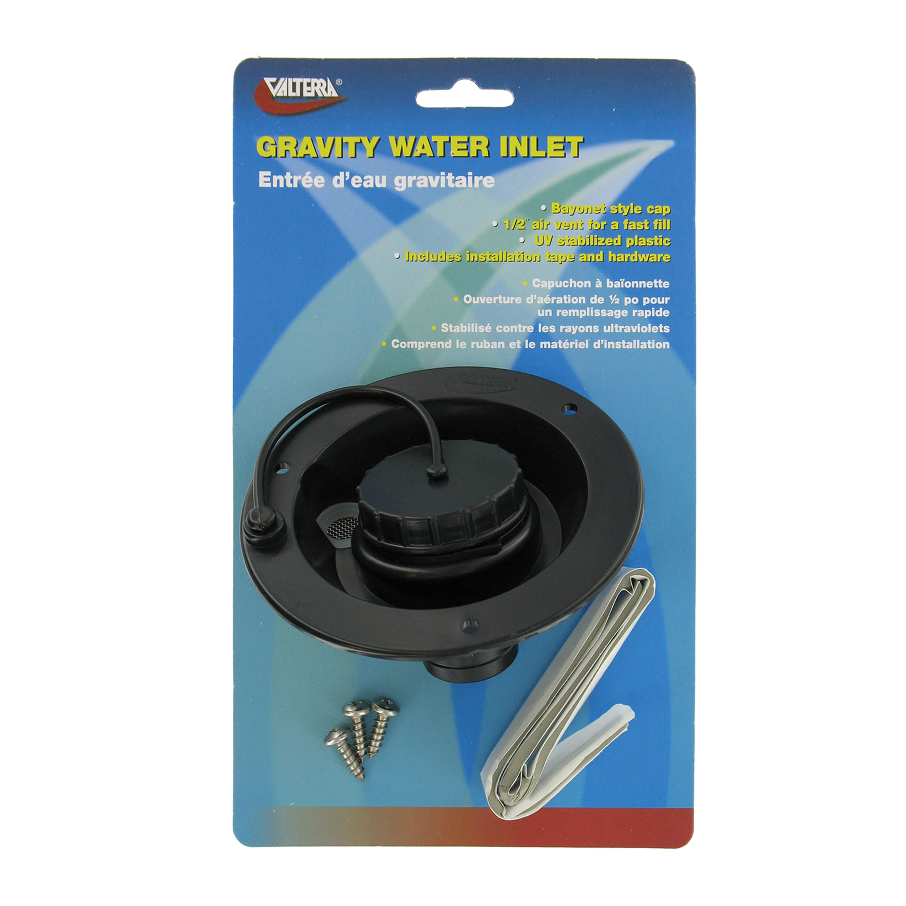 Valterra A01-2003BKVP Gravity Water Inlet - Black (Carded)