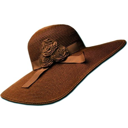 Sakkas Womens UPF 50+ 100% Paper Straw Ribbon Flower Accent Wide Brim Floppy Hat - Brown - One Size (Brown Hat)