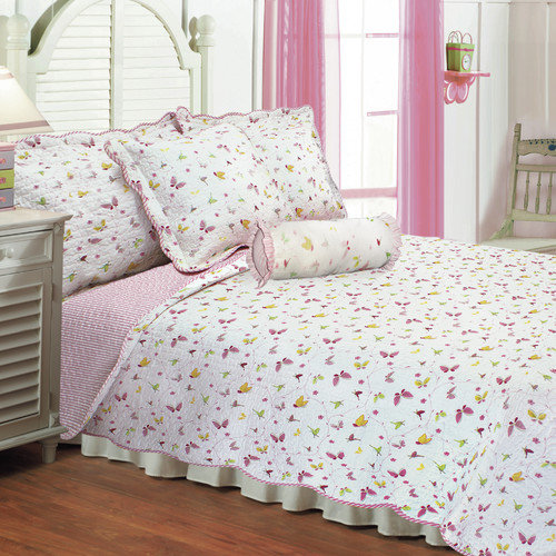 Textiles Plus Inc. Butterfly Dance Quilt Set With Cushions