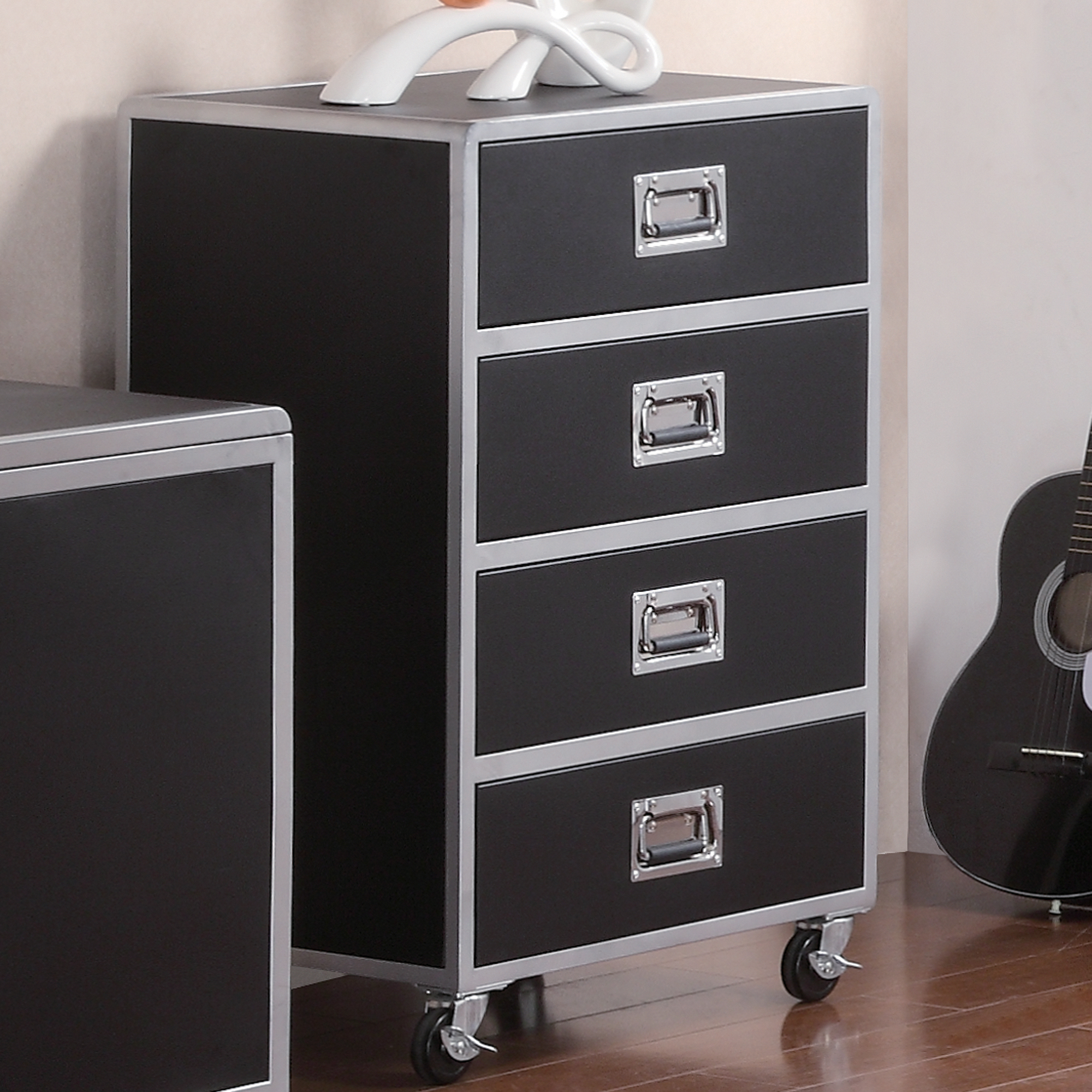 Coaster Company LeClair 4 Drawer Chest, Black/Silver Metal