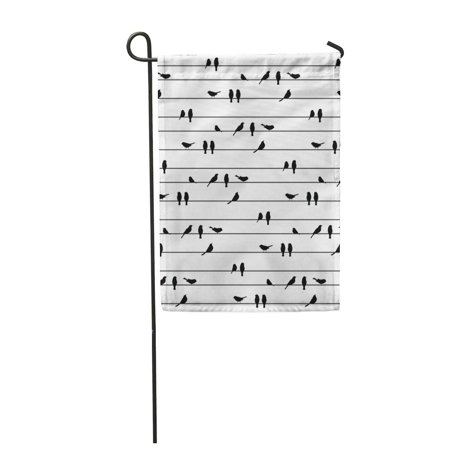 LADDKE Black Birds on Power Line Silhouette Striped Pattern Garden Flag Decorative Flag House Banner 12x18 inch](Birds Silhouette)