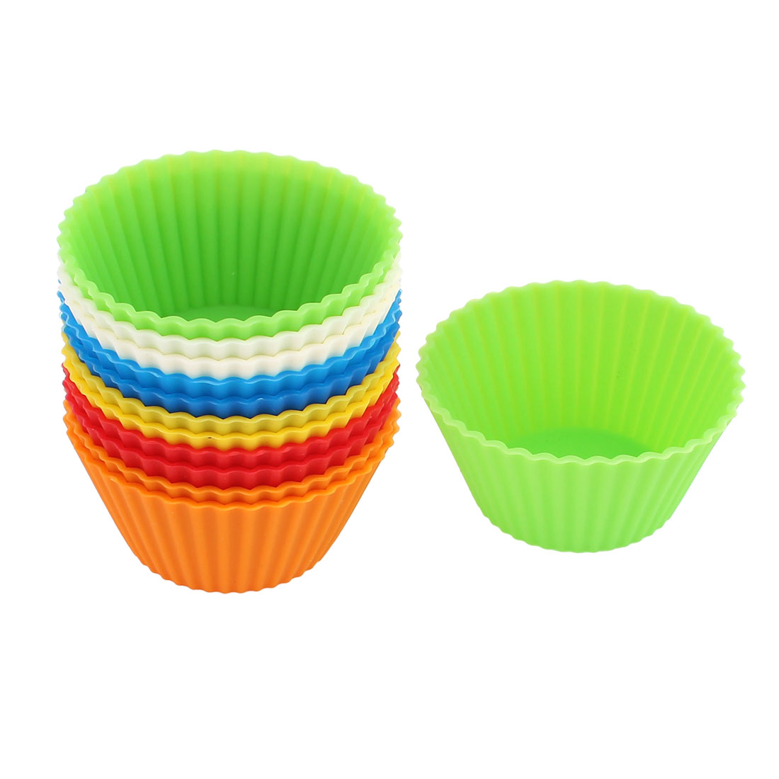 Click here to buy Unique Bargains Silicone Muffin Egg Tart Cake Mold Cupcake Baking Cup Mould Assorted Color 12PCS.