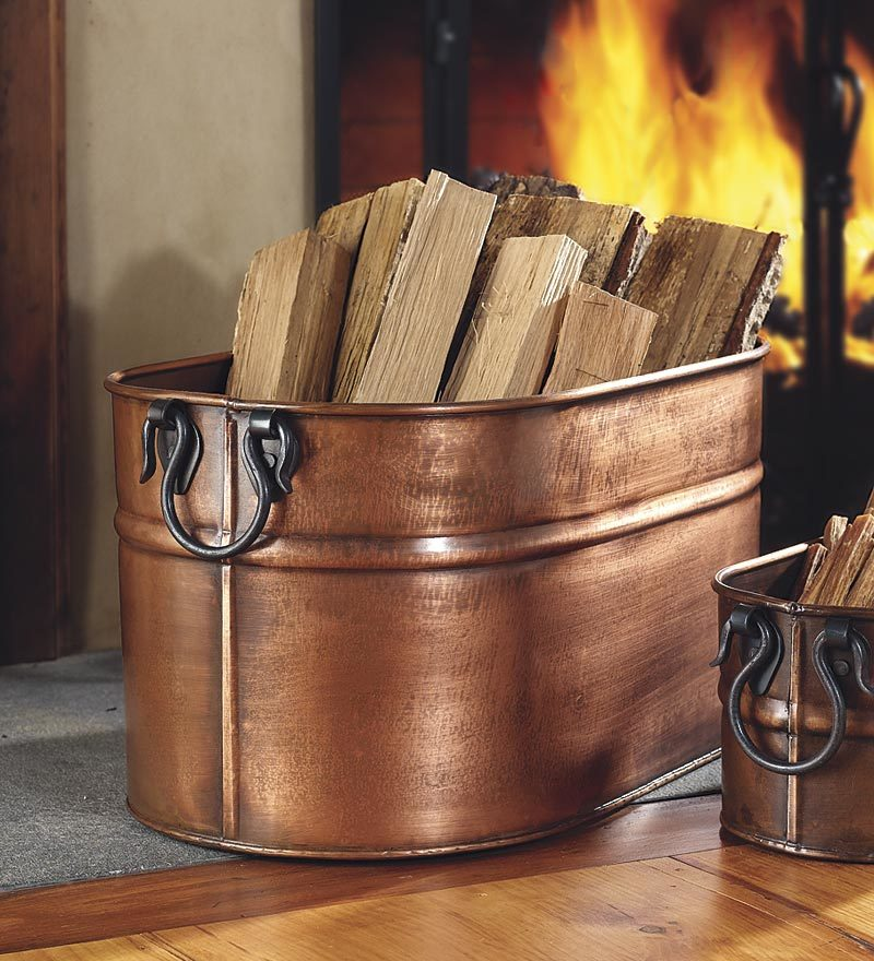 Large Oval Hand-Crafted Copper-Plated Steel Firewood Tub