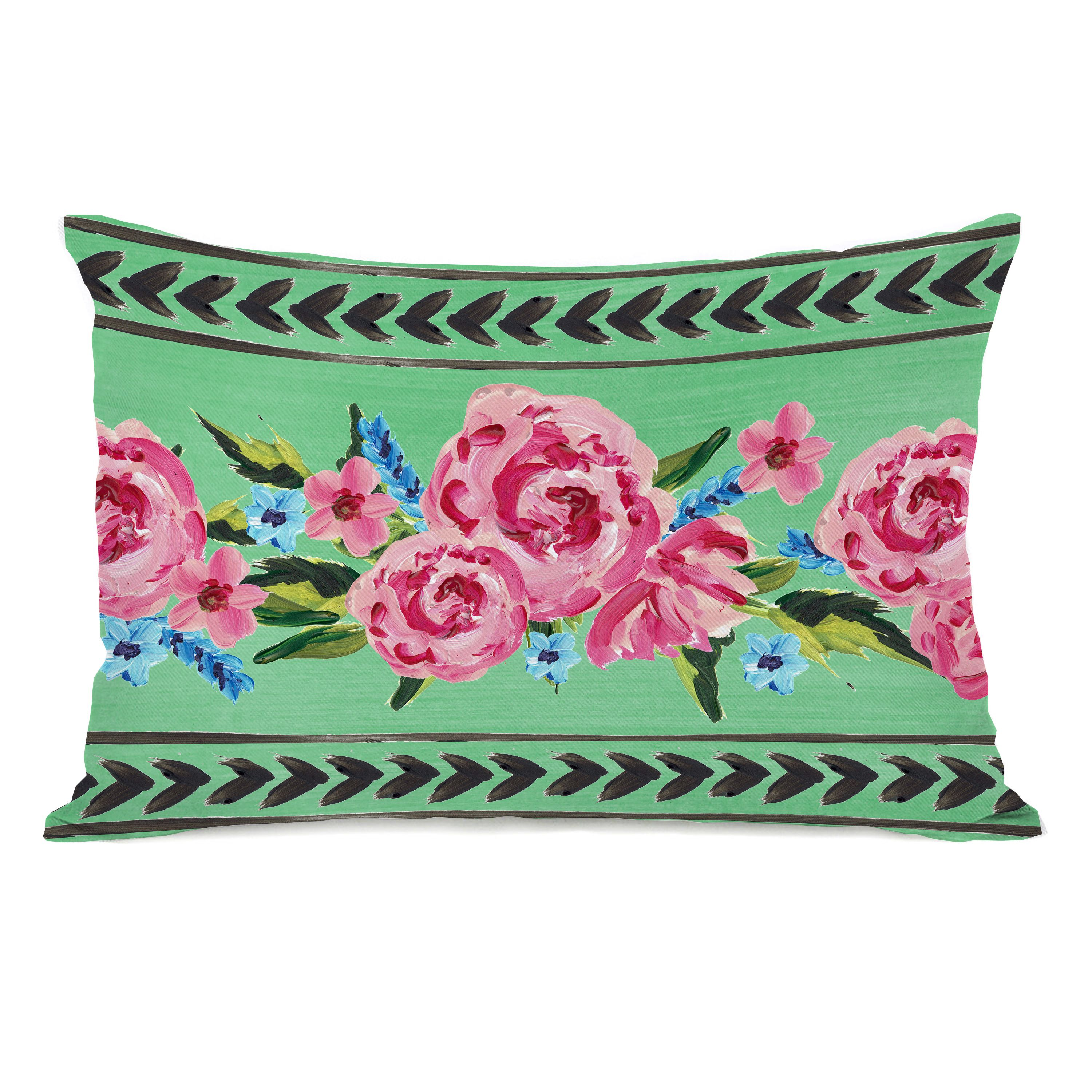 Jessica Floral - Green 14x20 Pillow by Timree