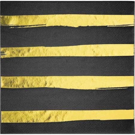 Foil Stamped Black Linen - Creative Converting Toc Black Velvet Foil Luncheon Napkin 3Ply, Foil Stamp, 16 ct