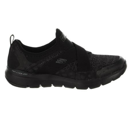 Skechers Flex Appeal 3.0-Finest Hour Sneaker - Black/Black - Womens - (Best Shoes For Long Hours On Your Feet)