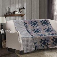 Carolina Stars Grey and Blue Farm House Quilt Throw Blanket